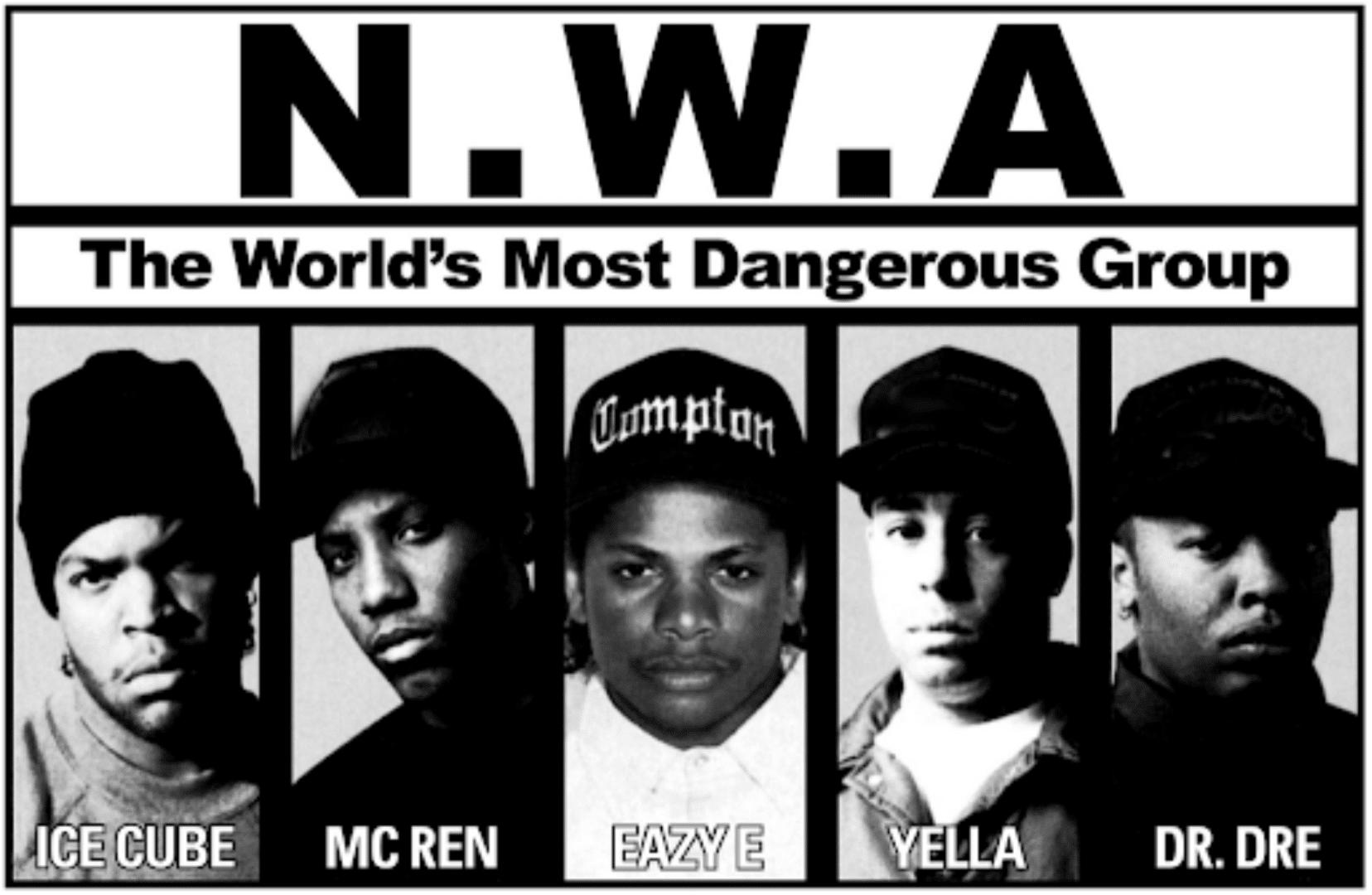 Integrantes del grupo NWA, quienNWA la voz de una ciudad marcada por el nacimiento del Gangsta Rap
