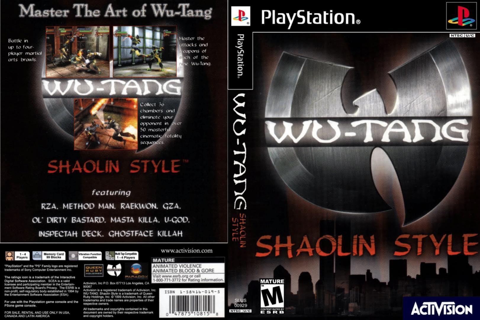 Portada del juego Shaolin Style inspirado en Wu tang clan