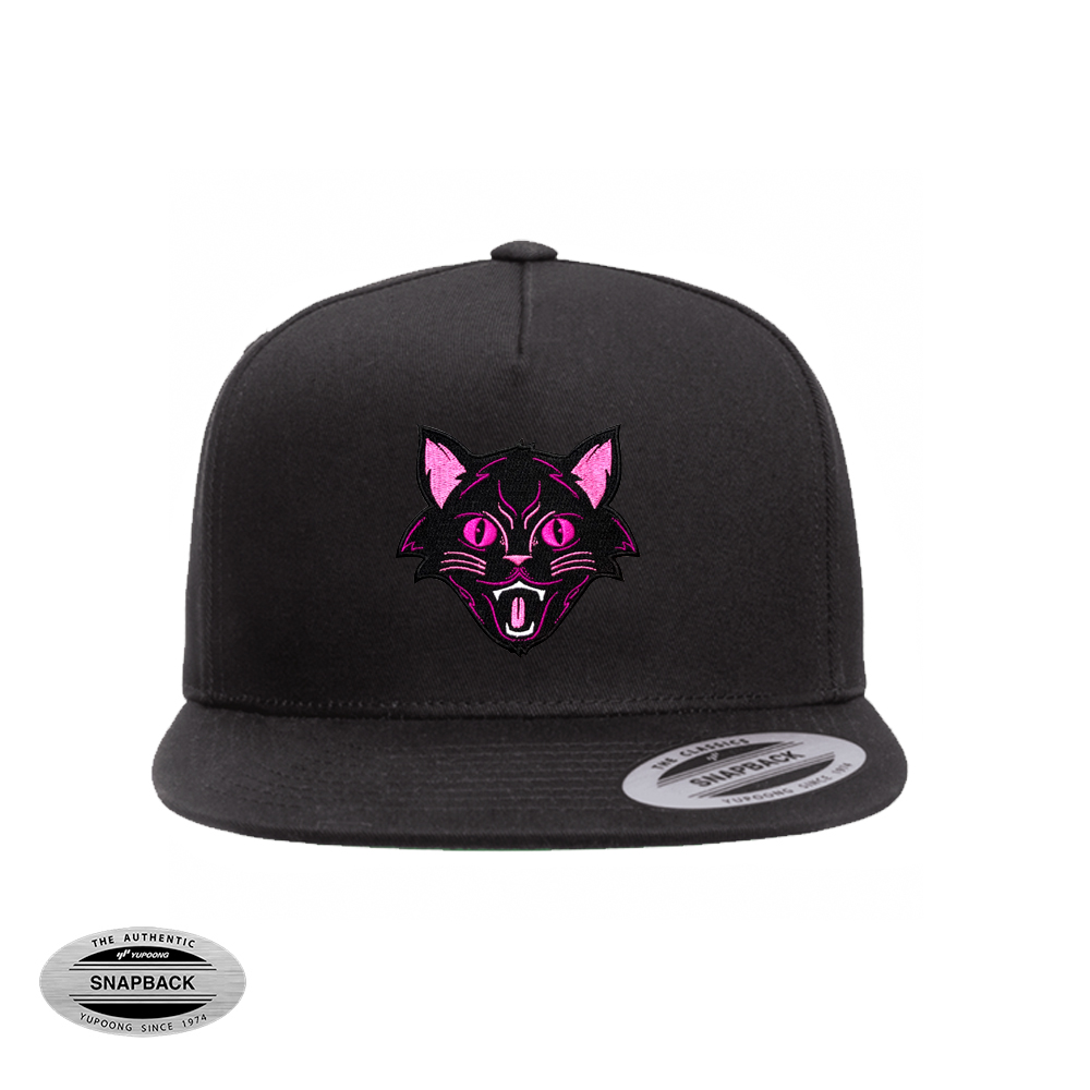 snapback 6007 negro bordado black cat