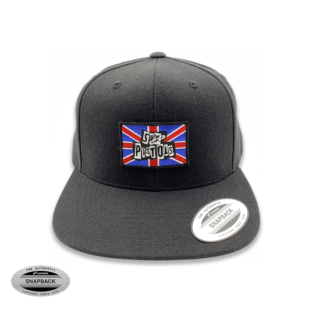 Sex Pistols UK Snapback Flexfit, gorro de la línea The classics, color negro con parche bordado frontal